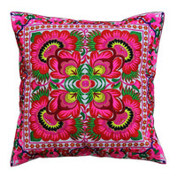 "18"" x 18"" Tribal HMONG Embroidered Coushion Cover - Pink color"