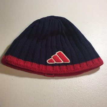 DCCKIHN BRAND NEW ADIDAS NAVY AND RED TRIM KNIT HAT SHIPPING