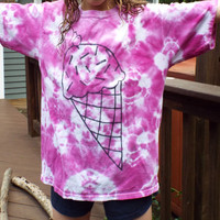 Ice Cream Shirt, Girls Tshirt with Ice Cream Cone, Summer Tshirt for Hippie Girls, Girls Tie Dye Tshirt, Tiedye Kids, Purple Shirt, Icecream
