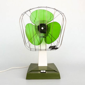 Techie Vintage Electric Fan / Table Fan / Desk Fan Aepi Oscillante, 60's Italian / Green