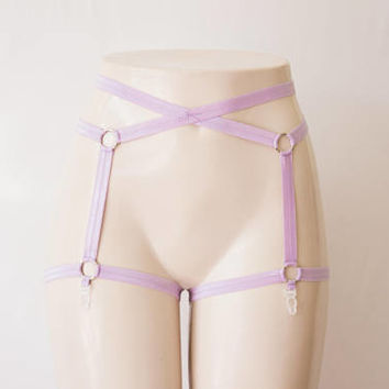 Light Purple Garter Belt: Purple Lingerie, Festival Wear, Exotic Dancewear, Purple Body Cage, Body Harness, Cage Garters, Lavender Lingerie