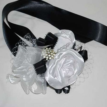 Fabric Flower corsage - Handmade Roses Ribbon Corsage with Triple Pearls and Vintage Crystal Pin