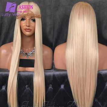 10A Quality Full Lace Blonde Wigs #60 Long Straight/  Middle Part/ Human Hair/ Lace Front