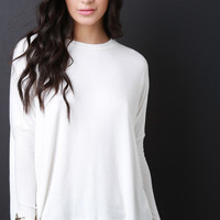 Casual Long Sleeves Dolman Trapeze Top