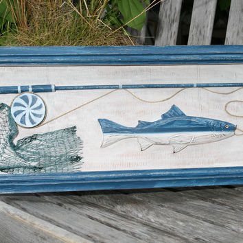 """FISHING GEAR"" SHADOW BOX - RUSTIC BLUE COASTAL 22"" - COASTAL DECOR"