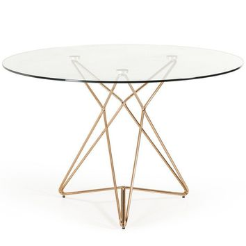 Modrest Ashland Round Modern Glass & Rose Gold Dining Table
