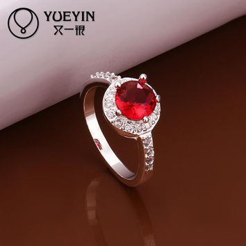 Red 8 2016 NEW silver plated ruby stone zircon crystal women new design finger ring Simulated Diamonds Jewelry
