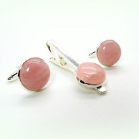Rose Quartz Cufflinks and Tie Clip, Pink Cufflinks and Tie Clip Set, Rose Quartz Cufflinks, Rose Quartz Tie Clip