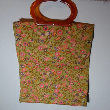 Vintage Retro Multi Colored Floral Lady's Pride Fold Up and Snap Shopping Tote/Bag/Purse with an Amber Bakelite or Lucite Oval Handle