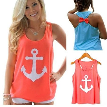 Women Lady Anchor Sleeveless Bowknot Vest Tank Top Blouse Tee T-Shirts = 1958026692