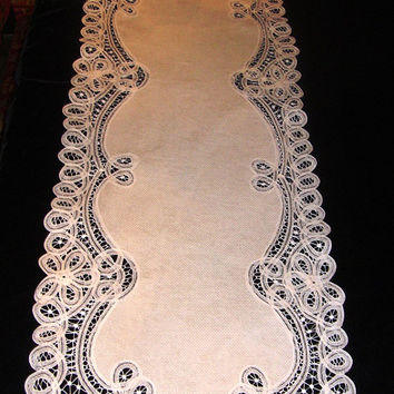 Battenburg Lace Table Runner Handmade Shabby Decor Chateau Chic Wedding Runner