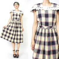 Vintage 1950s Plaid Cotton Dress (S/M)