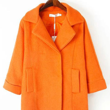 Notched Collar Long Sleeve Woolen Coat