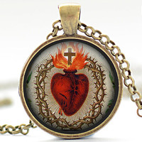 Sacred Heart of Jesus Necklace Your Choice of by FrenchHoney
