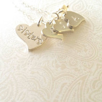 Sister Heart Necklace with Three Initials of Choice, Personalized Sisters Necklace, Gift for Sister