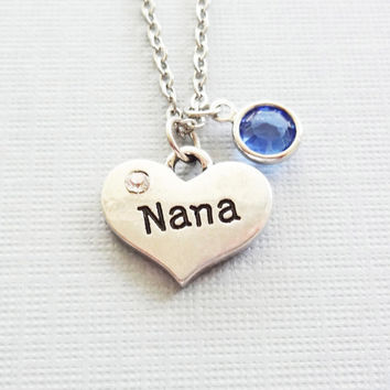 Nana Heart Necklace, Grandma Gift, Grandmother, Mothers Day Gift, Birthday Gift, Mother Jewelry, Swarovski Channel Birthstone,Silver Jewelry