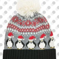 Women's Topshop Fair Isle Penguin Beanie