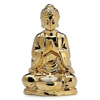 Metallic Gold Sitting Buddha Tealight Holder