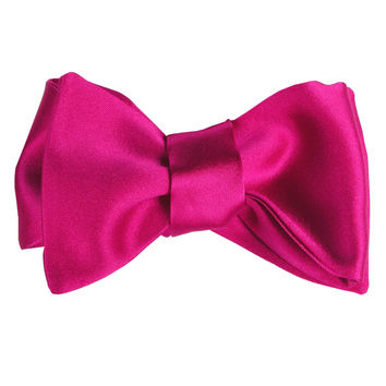 Soave-Classic Silk Satin Self Tie Bow-Fuchsia