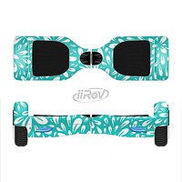 The Teal and White Floral Sprout Full-Body Skin Set for the Smart Drifting SuperCharged iiRov HoverBoard