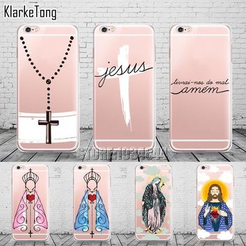 Amen Jesus Cruz Amor Design Cases Cover For iphone X 6 6s 5 5s se 7 8 Plus Transparent Silicone Protective Phone Capa Capinha