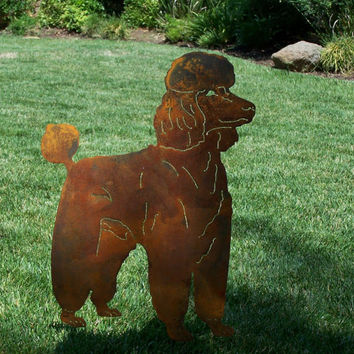 Standard Poodle Metal art garden stake rusty finish sculpture dog  / memorial stake