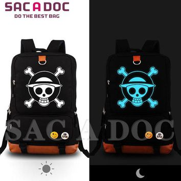 Japanese Anime Bag   One piece Luffy Pirate Flag Printing School Bags For Teenagers School Backpack Men Women Travel Bag Student Bookbag AT_59_4