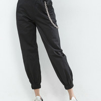 Chain Detail Tapered Leg Pants