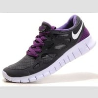 NIKE running shoes light casual shoes Gray purple