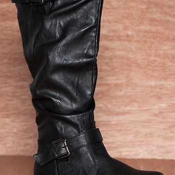 Anne Michelle Renegade Rock Ruched Mid Calf Two Buckle Strap Boots Montage-02n - Black