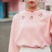 2018 Spring New Women Hoodies Long Sleeve Cotton Boyfriend Style Hoodie Harajuku Peach Embroidered Sweatershirt #A022
