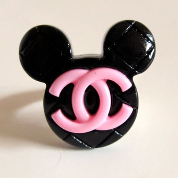 SALE Black & Lt Pink Medium Mickey CC Ring by PaolaLoves2Shop