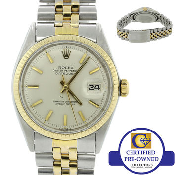 Vintage Rolex DateJust 1601 36mm 14k Yellow Gold Steel Fluted Pie Pan Watch