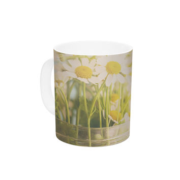 "Laura Evans ""O Daisy"" Green Yellow Ceramic Coffee Mug"