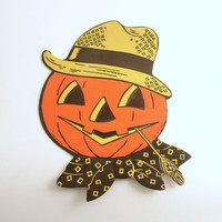 Vintage Halloween Decoration Jack O' Lantern Pumpkin Die Cut Luhrs