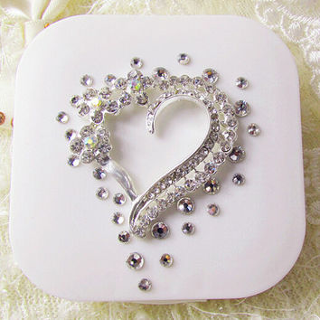 Rhinestone Heart Stylish Contact Lens Case with Holder & Mirror