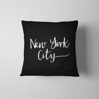 New York City Throw Pillow - Black