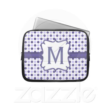 Purple Polka Dot Pattern with Monogram Laptop Sleeve from Zazzle.com