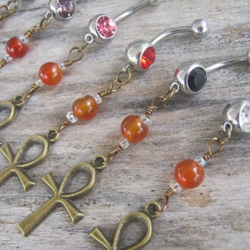 Choose One BRONZE Ankh Belly Ring, Carnelian Egyptian Hieroglyph Belly Button Ring, Personalized Birthstone Navel Piercing, Body Jewelry