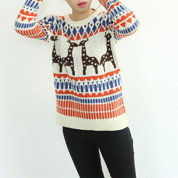 White Reindeer Geometric Print Sweater