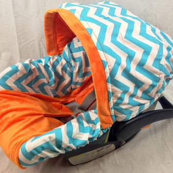 Infant Car Seat Cover, Baby Car Seat Cover including matching neck strap set Chevron Riley Blake