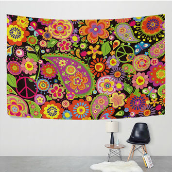 Flower Paisley Peace Sign Tapestry Wall Hanging Paisley Design Psychedelic Floral Wall Decor Art for Bedroom Living Room Dorm