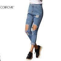 COLROVE Spring Vogue Long Denim Pants New Arrival Female Brand High Street High Waist Zipper Fly Pockets Blue Ripped Loose Jeans