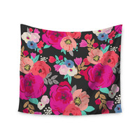"Crystal Walen ""Sweet Pea"" - Black Floral Wall Tapestry"