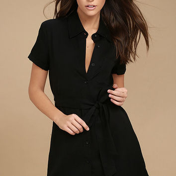 Self-Starter Black Shirt Dress