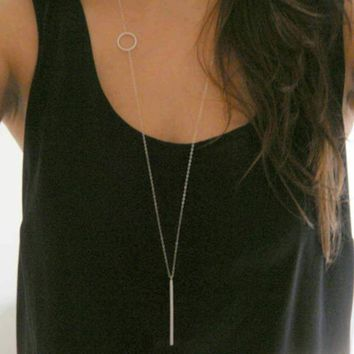 New Arrival Simple Loops Stick Long Necklace Sliver / Gold Chain Necklace Lariat Charm For Women Gift   171213