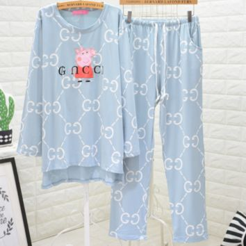 GUCCI x Peppa Pig Joint Fall/Winter Long Sleeve Pajamas Two-Piece Set F0877-1 light blue
