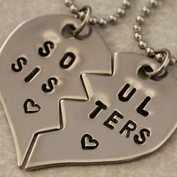 Soul Sisters Necklaces - BFF Split Heart Jewelry, Best Bitches Jewelry - Hand Stamped Best Friend Necklaces - Stainless Steel