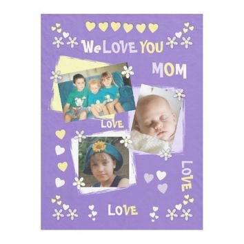 Fleece Blanket for Mom Purple and Yellow