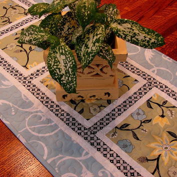 Quilted Table Runner in Blue Yellow and Green with Black Accents